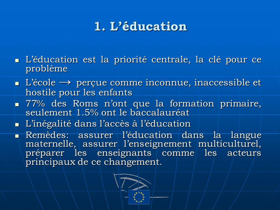 1. Léducation Léducation est la priorité centrale, la clé pour ce problème Léducation est la priorité centrale, la clé pour ce problème Lécole perçue