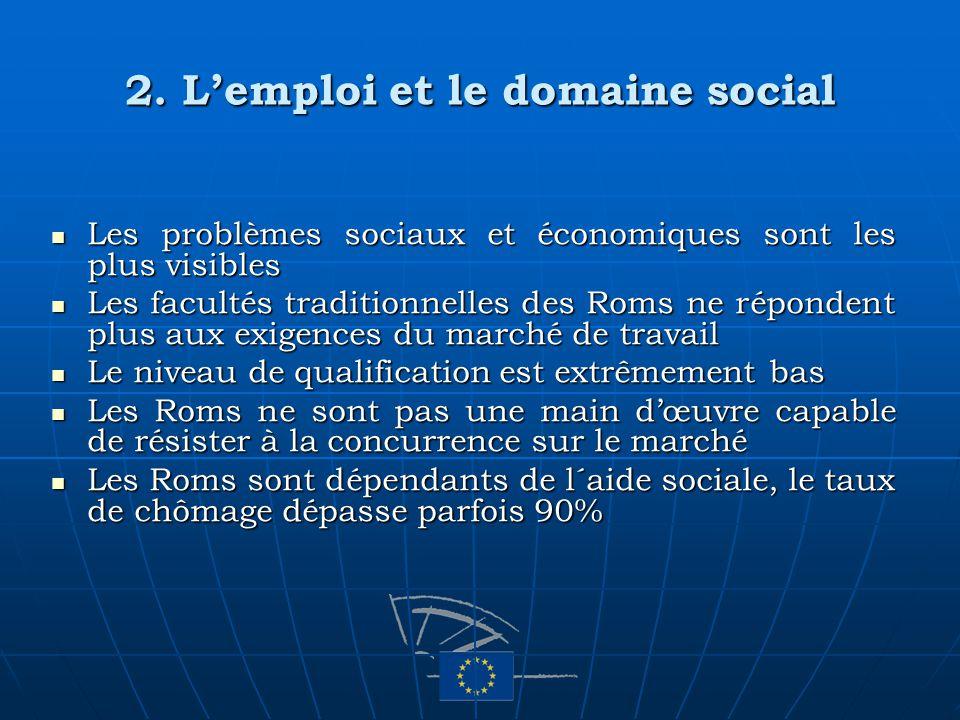 2. Lemploi et le domaine social Les problèmes sociaux et économiques sont les plus visibles Les problèmes sociaux et économiques sont les plus visible