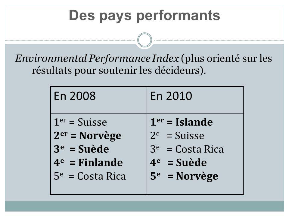 Environmental Performance Index (plus orienté sur les résultats pour soutenir les décideurs).