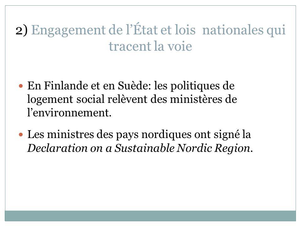 2) Engagement de lÉtat et lois nationales qui tracent la voie En Finlande et en Suède: les politiques de logement social relèvent des ministères de lenvironnement.