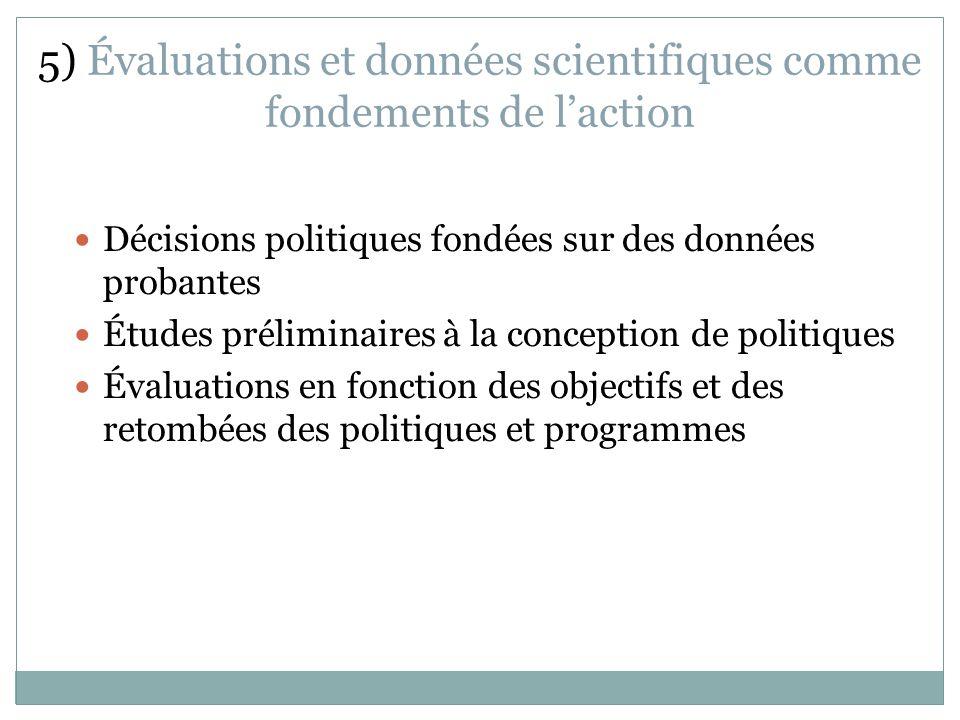 5) Évaluations et données scientifiques comme fondements de laction Décisions politiques fondées sur des données probantes Études préliminaires à la conception de politiques Évaluations en fonction des objectifs et des retombées des politiques et programmes