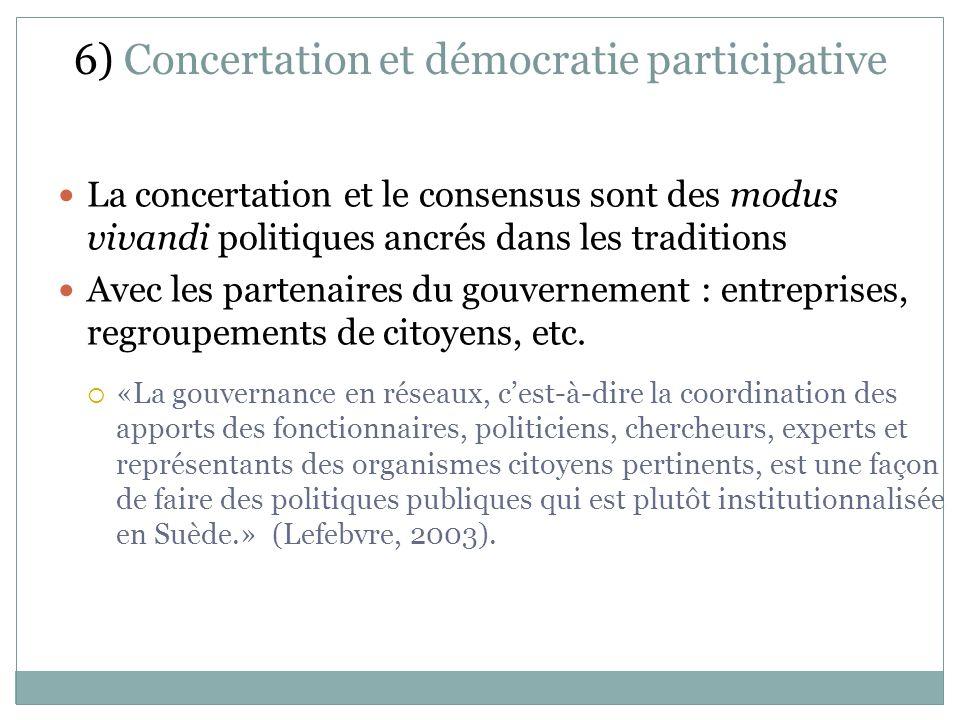 6) Concertation et démocratie participative La concertation et le consensus sont des modus vivandi politiques ancrés dans les traditions Avec les partenaires du gouvernement : entreprises, regroupements de citoyens, etc.