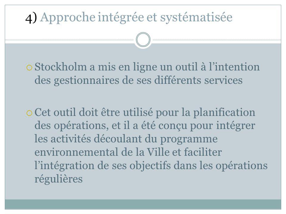 Stockholm a mis en ligne un outil à lintention des gestionnaires de ses différents services Cet outil doit être utilisé pour la planification des opérations, et il a été conçu pour intégrer les activités découlant du programme environnemental de la Ville et faciliter lintégration de ses objectifs dans les opérations régulières 4) Approche intégrée et systématisée