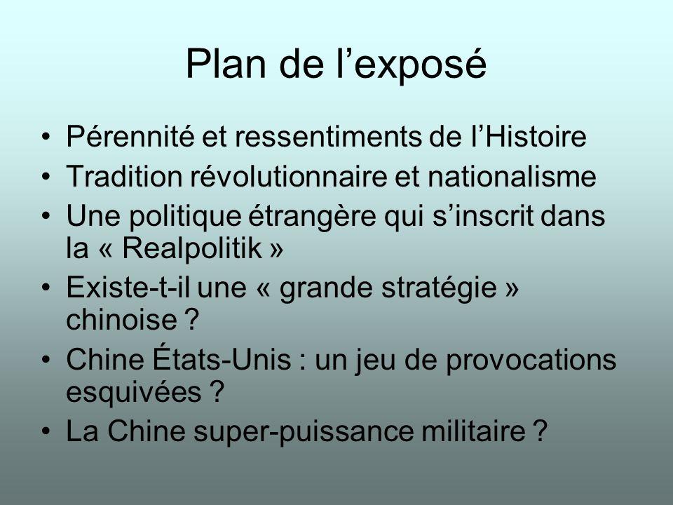 Plan de lexposé Pérennité et ressentiments de lHistoire Tradition révolutionnaire et nationalisme Une politique étrangère qui sinscrit dans la « Realpolitik » Existe-t-il une « grande stratégie » chinoise .