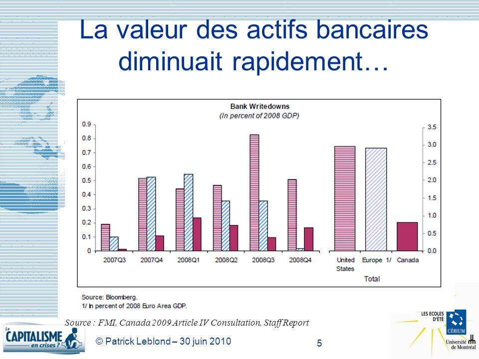 © Patrick Leblond – 30 juin 2010 5 La valeur des actifs bancaires diminuait rapidement… Source : FMI, Canada 2009 Article IV Consultation, Staff Repor