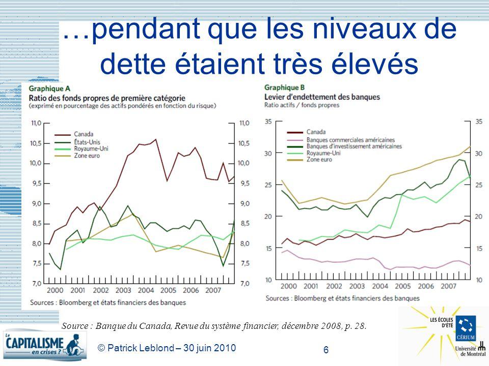 © Patrick Leblond – 30 juin 2010 6 …pendant que les niveaux de dette étaient très élevés Source : Banque du Canada, Revue du système financier, décemb