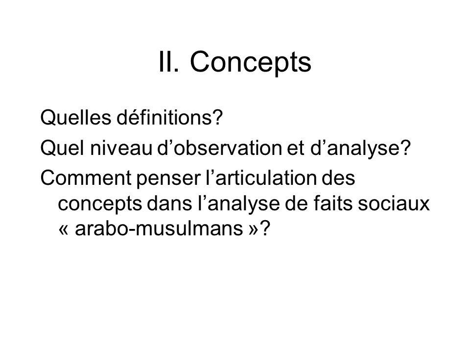 II. Concepts Quelles définitions? Quel niveau dobservation et danalyse? Comment penser larticulation des concepts dans lanalyse de faits sociaux « ara