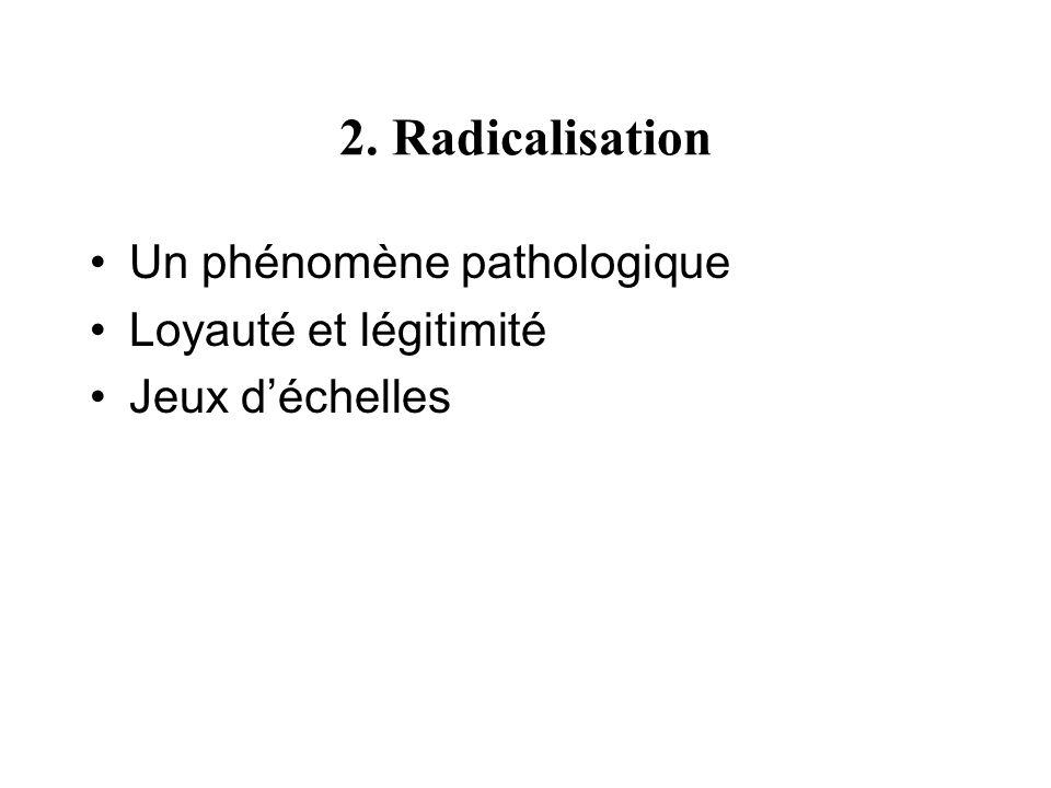 2. Radicalisation Un phénomène pathologique Loyauté et légitimité Jeux déchelles
