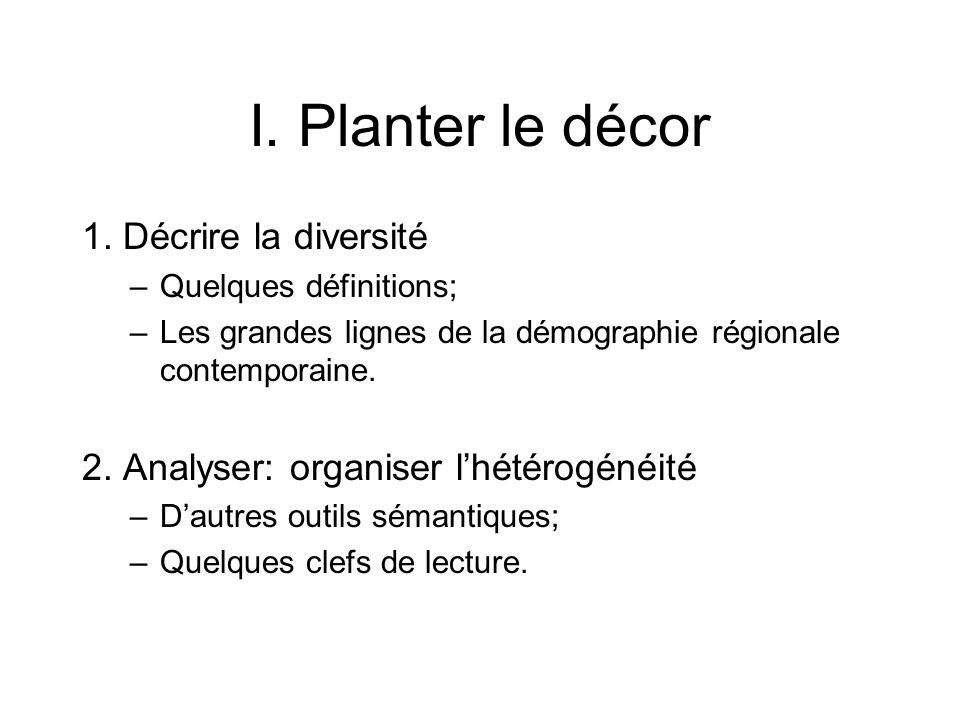 I. Planter le décor 1.