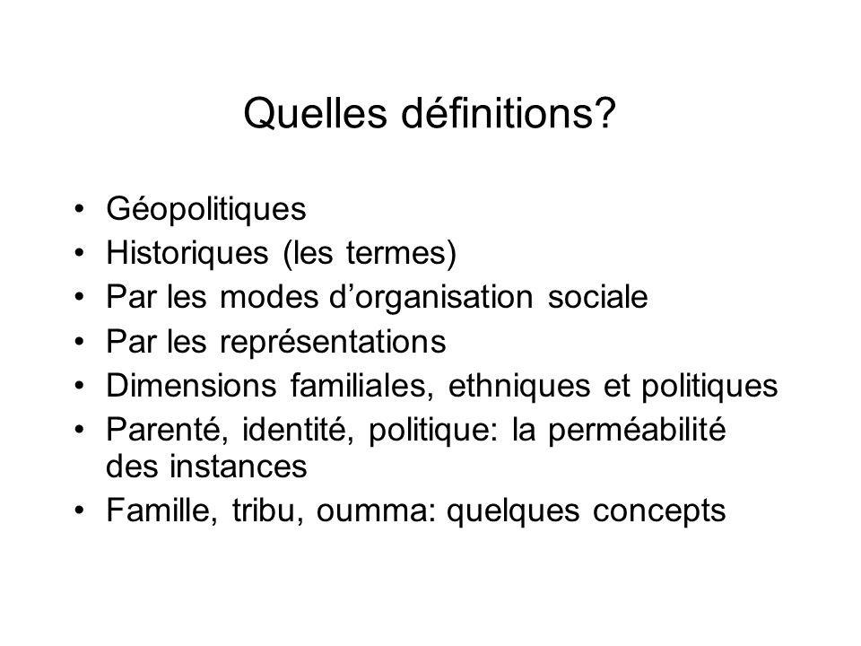 Quelles définitions? Géopolitiques Historiques (les termes) Par les modes dorganisation sociale Par les représentations Dimensions familiales, ethniqu