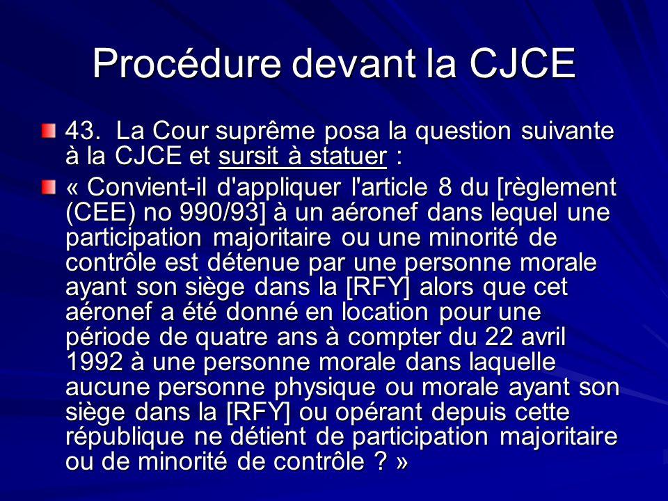 Procédure devant la CJCE 43. La Cour suprême posa la question suivante à la CJCE et sursit à statuer : « Convient-il d'appliquer l'article 8 du [règle