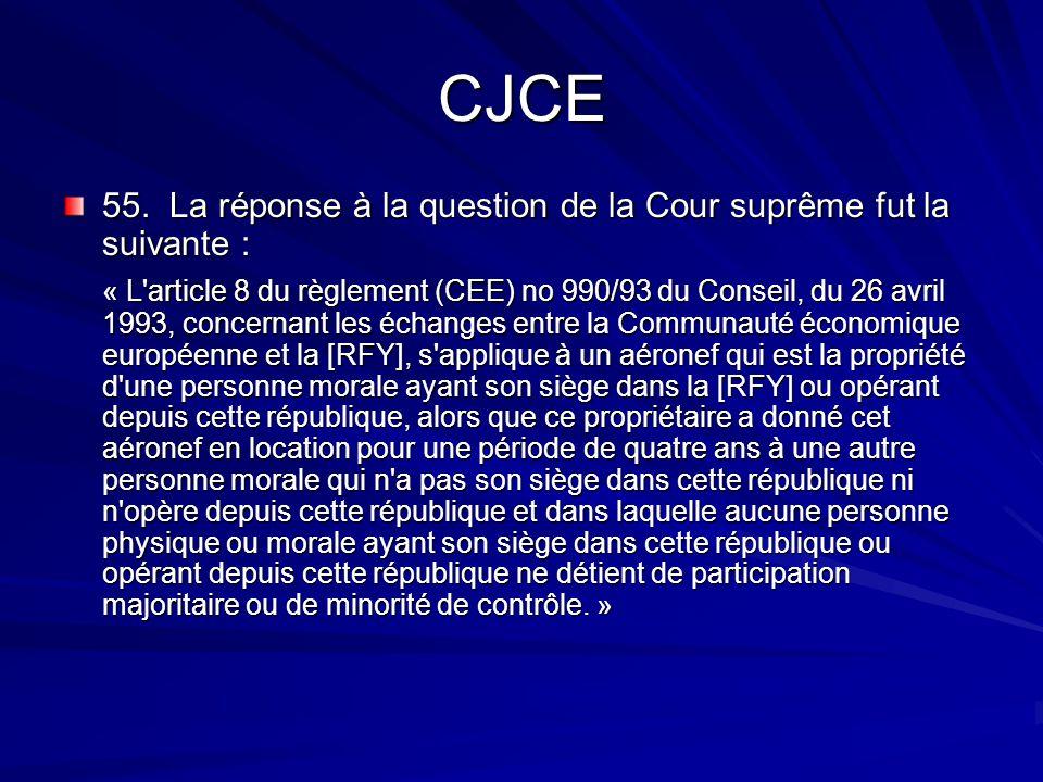 CJCE 55. La réponse à la question de la Cour suprême fut la suivante : « L'article 8 du règlement (CEE) no 990/93 du Conseil, du 26 avril 1993, concer