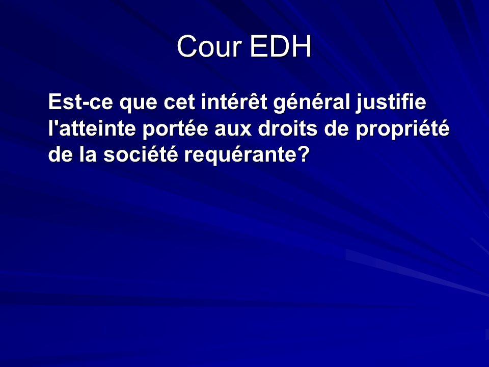 Cour EDH Est-ce que cet intérêt général justifie l'atteinte portée aux droits de propriété de la société requérante?