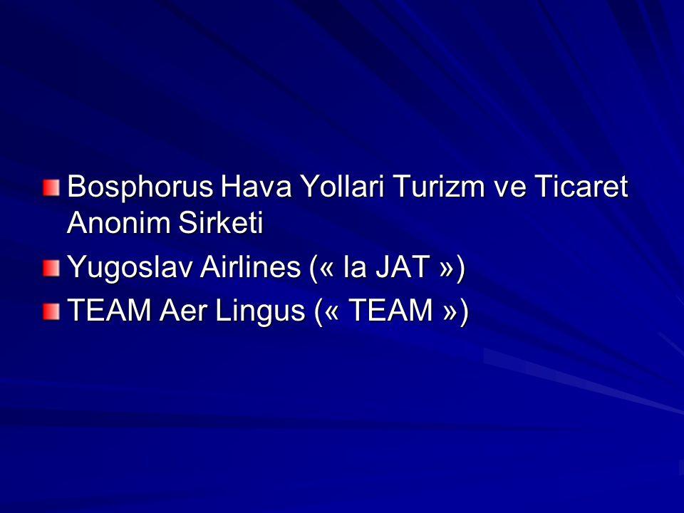 Bosphorus Hava Yollari Turizm ve Ticaret Anonim Sirketi Yugoslav Airlines (« la JAT ») TEAM Aer Lingus (« TEAM »)