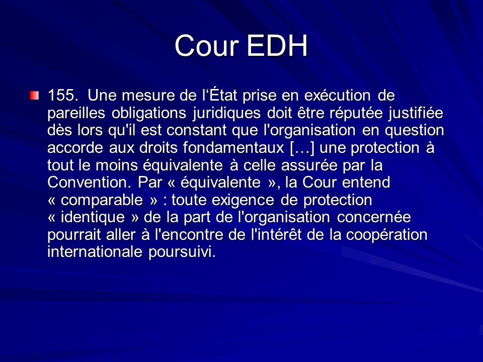 Cour EDH 155. Une mesure de lÉtat prise en exécution de pareilles obligations juridiques doit être réputée justifiée dès lors qu'il est constant que l