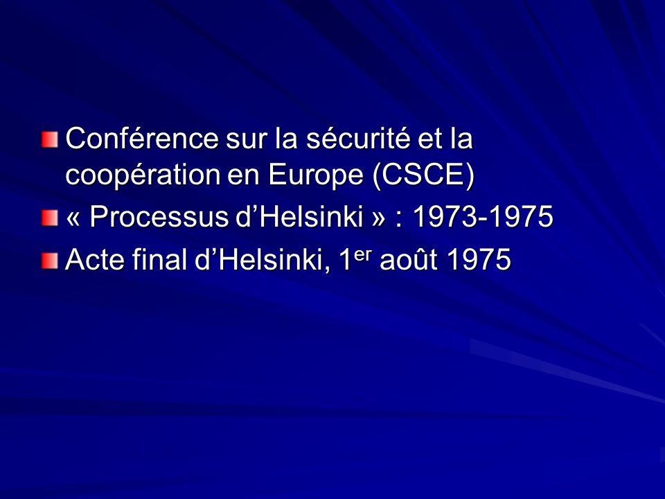 Conférence sur la sécurité et la coopération en Europe (CSCE) « Processus dHelsinki » : 1973-1975 Acte final dHelsinki, 1 er août 1975