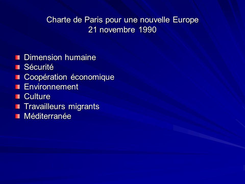 Charte de Paris pour une nouvelle Europe 21 novembre 1990 Dimension humaine Sécurité Coopération économique EnvironnementCulture Travailleurs migrants