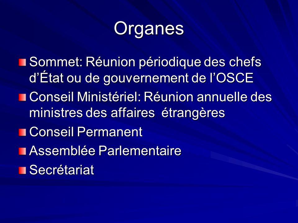 Organes Sommet: Réunion périodique des chefs dÉtat ou de gouvernement de lOSCE Conseil Ministériel: Réunion annuelle des ministres des affaires étrang