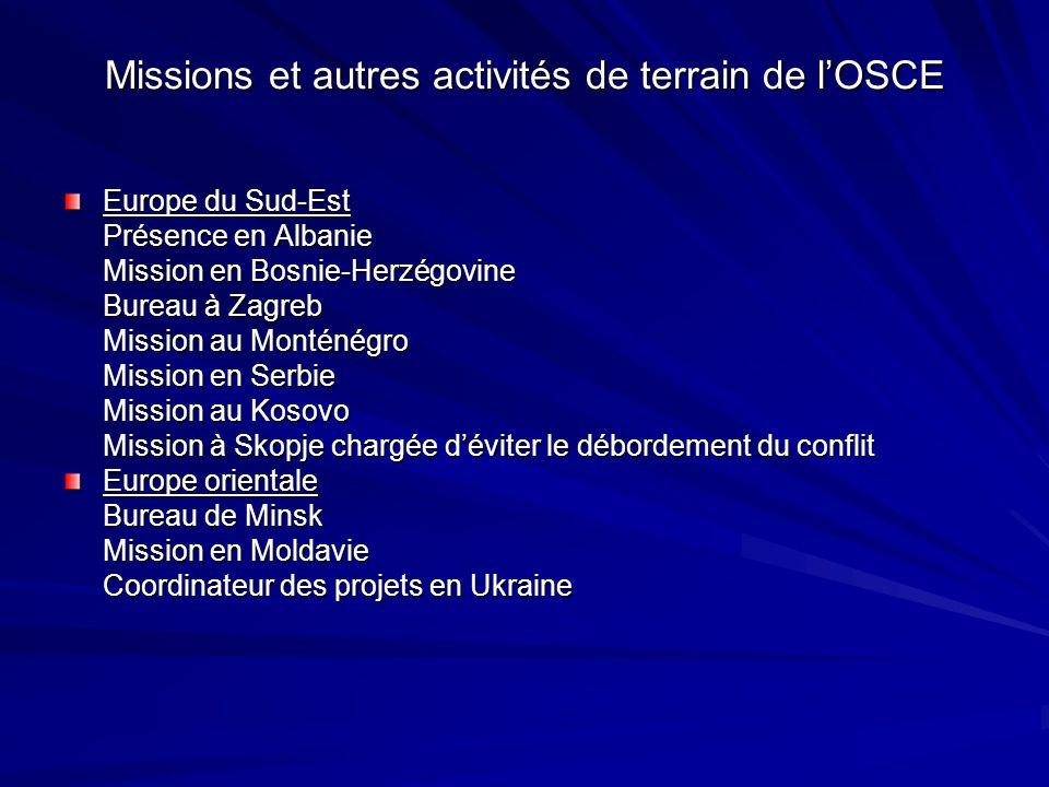 Missions et autres activités de terrain de lOSCE Europe du Sud-Est Présence en Albanie Mission en Bosnie-Herzégovine Bureau à Zagreb Mission au Montén