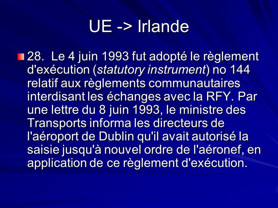 UE -> Irlande 28. Le 4 juin 1993 fut adopté le règlement d'exécution (statutory instrument) no 144 relatif aux règlements communautaires interdisant l