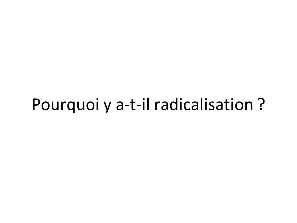 Pourquoi y a-t-il radicalisation ?