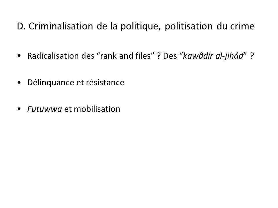 D. Criminalisation de la politique, politisation du crime Radicalisation des rank and files ? Des kawâdir al-jihâd ? Délinquance et résistance Futuwwa