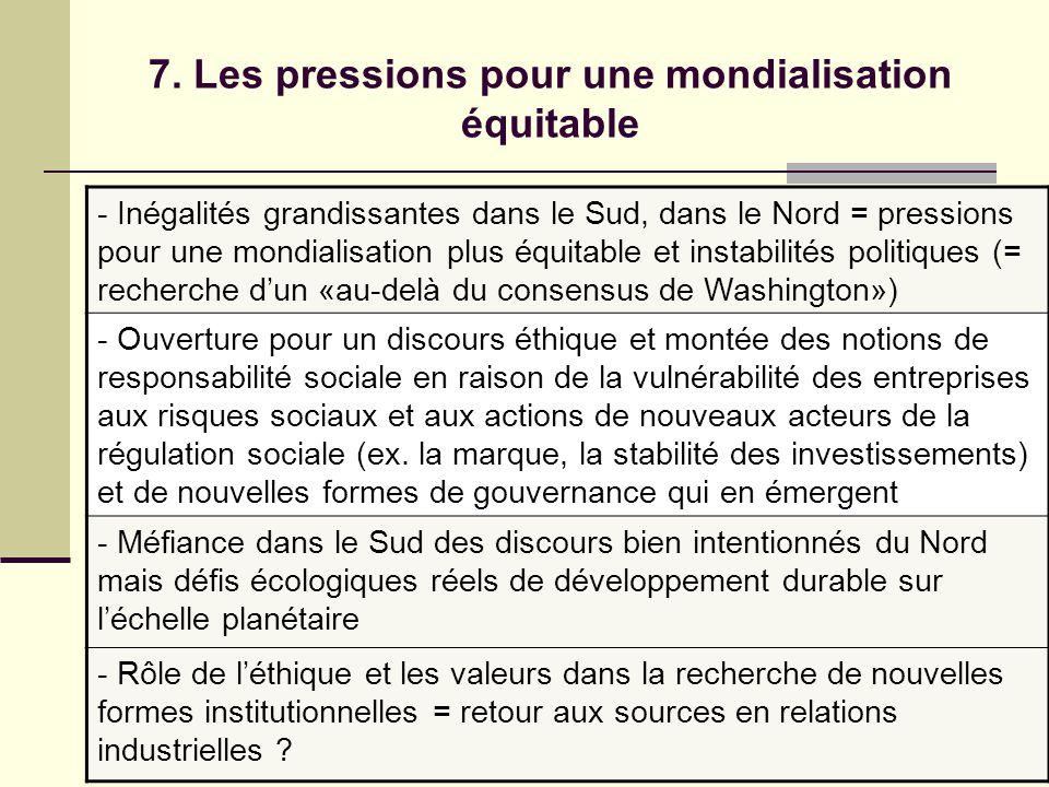 7. Les pressions pour une mondialisation équitable - Inégalités grandissantes dans le Sud, dans le Nord = pressions pour une mondialisation plus équit