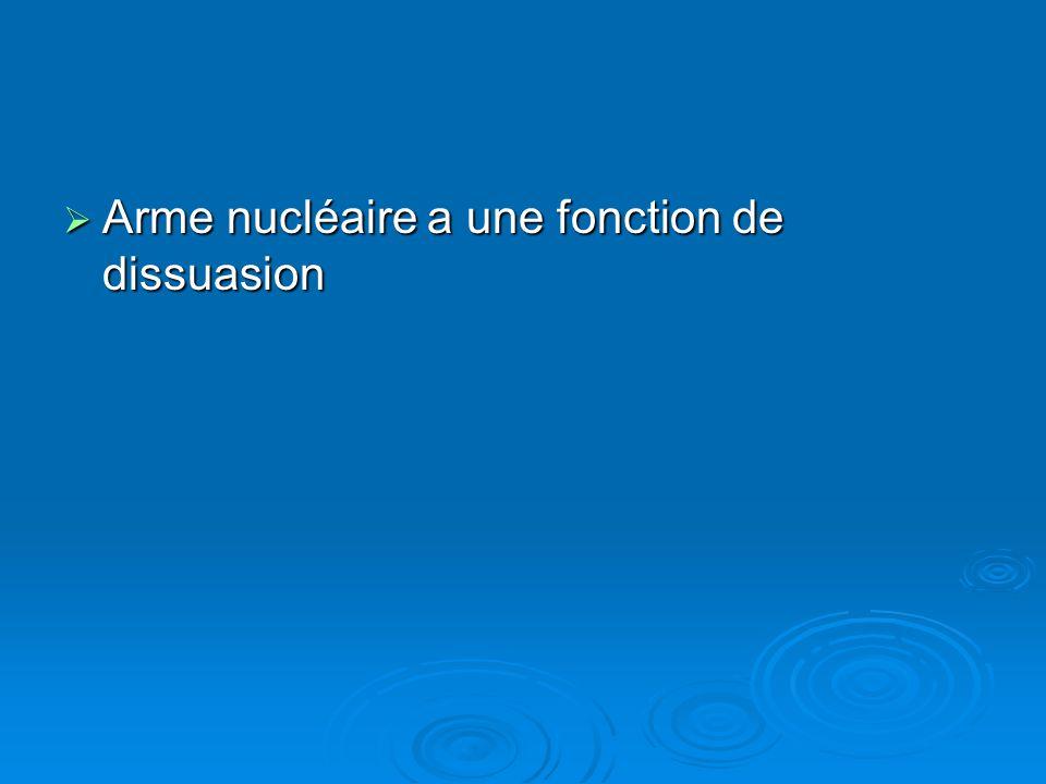 Arme nucléaire a une fonction de dissuasion Arme nucléaire a une fonction de dissuasion