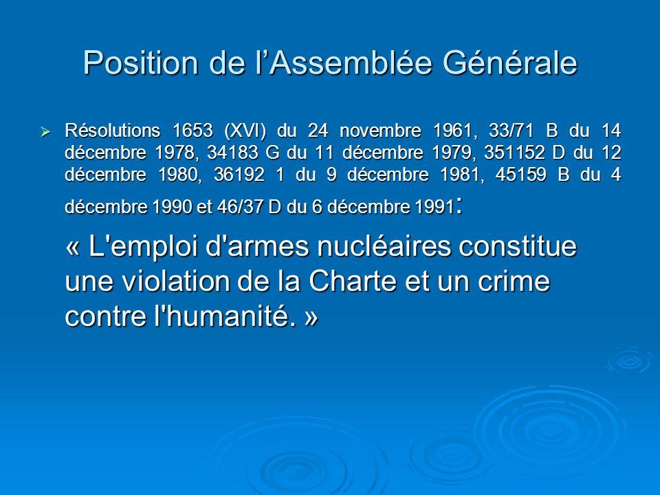 Question «Est-il permis en droit international de recourir à la menace ou à l emploi d armes nucléaires en toute circonstance?»