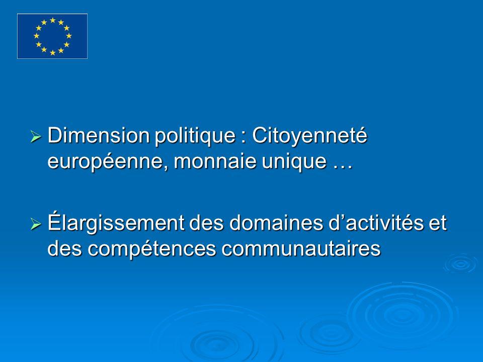 Dimension politique : Citoyenneté européenne, monnaie unique … Dimension politique : Citoyenneté européenne, monnaie unique … Élargissement des domaines dactivités et des compétences communautaires Élargissement des domaines dactivités et des compétences communautaires