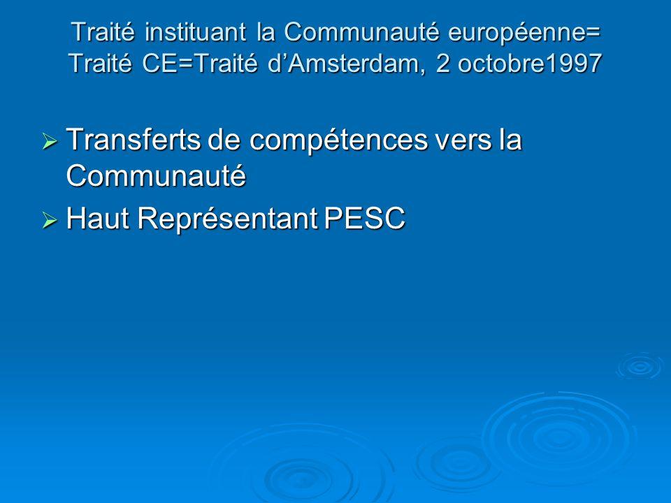 Traité instituant la Communauté européenne= Traité CE=Traité dAmsterdam, 2 octobre1997 Transferts de compétences vers la Communauté Transferts de compétences vers la Communauté Haut Représentant PESC Haut Représentant PESC