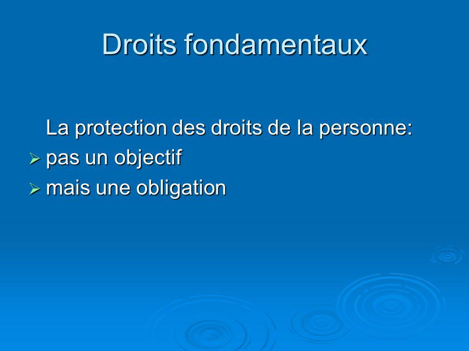 Droits fondamentaux La protection des droits de la personne: pas un objectif pas un objectif mais une obligation mais une obligation
