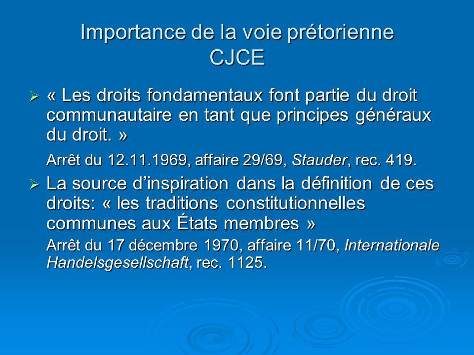 Importance de la voie prétorienne CJCE « Les droits fondamentaux font partie du droit communautaire en tant que principes généraux du droit.