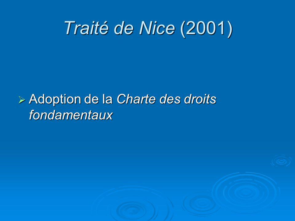 Traité de Nice (2001) Adoption de la Charte des droits fondamentaux Adoption de la Charte des droits fondamentaux