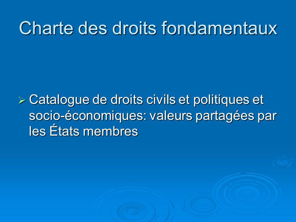 Charte des droits fondamentaux Catalogue de droits civils et politiques et socio-économiques: valeurs partagées par les États membres Catalogue de droits civils et politiques et socio-économiques: valeurs partagées par les États membres