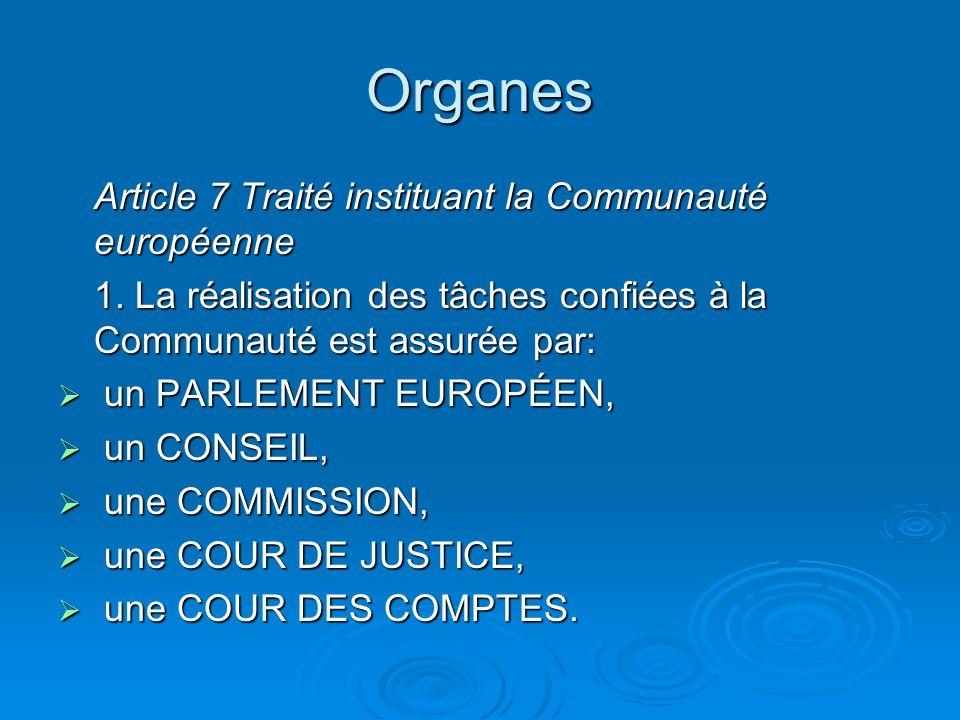 Organes Article 7 Traité instituant la Communauté européenne 1.