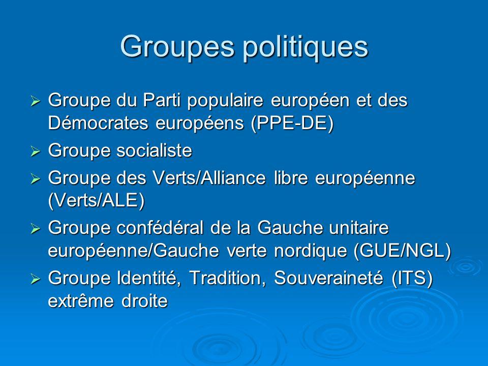 Groupes politiques Groupe du Parti populaire européen et des Démocrates européens (PPE-DE) Groupe du Parti populaire européen et des Démocrates européens (PPE-DE) Groupe socialiste Groupe socialiste Groupe des Verts/Alliance libre européenne (Verts/ALE) Groupe des Verts/Alliance libre européenne (Verts/ALE) Groupe confédéral de la Gauche unitaire européenne/Gauche verte nordique (GUE/NGL) Groupe confédéral de la Gauche unitaire européenne/Gauche verte nordique (GUE/NGL) Groupe Identité, Tradition, Souveraineté (ITS) extrême droite Groupe Identité, Tradition, Souveraineté (ITS) extrême droite