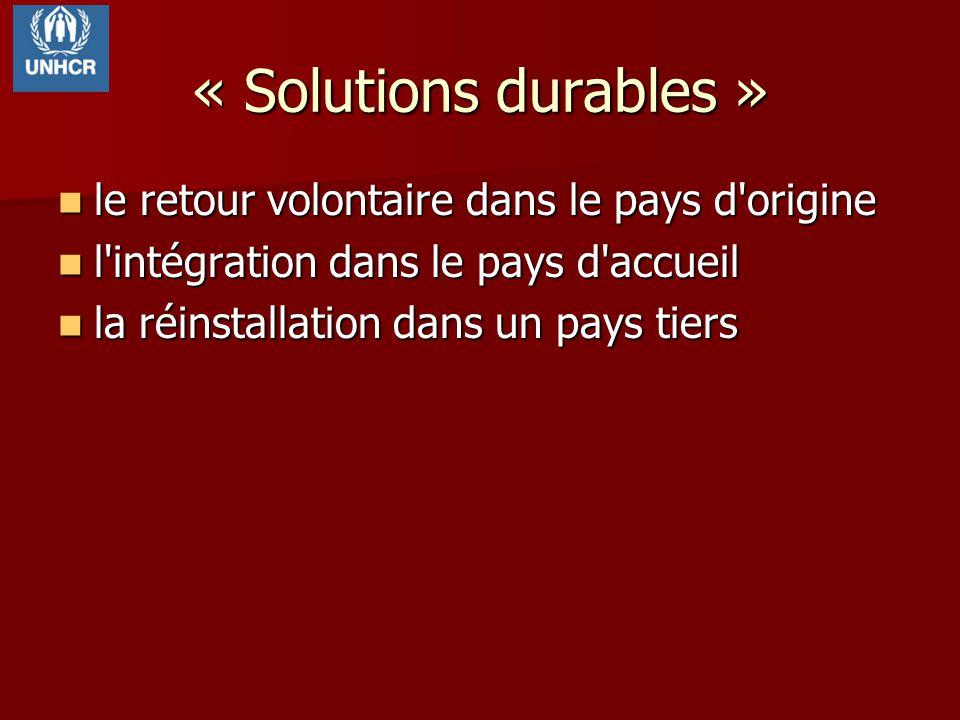 « Solutions durables » le retour volontaire dans le pays d'origine le retour volontaire dans le pays d'origine l'intégration dans le pays d'accueil l'