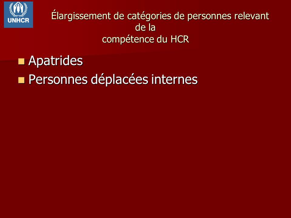 Élargissement de catégories de personnes relevant de la compétence du HCR Apatrides Apatrides Personnes déplacées internes Personnes déplacées interne