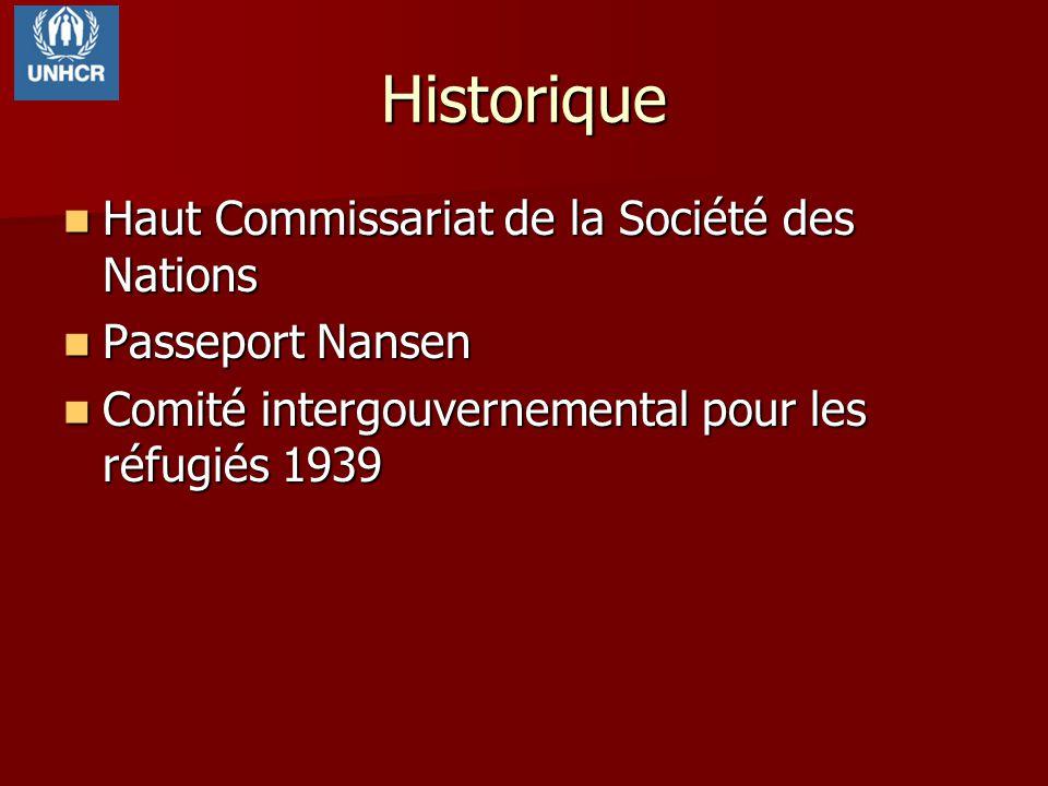 Historique Haut Commissariat de la Société des Nations Haut Commissariat de la Société des Nations Passeport Nansen Passeport Nansen Comité intergouve