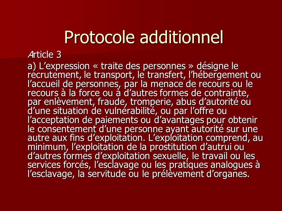 Protocole additionnel Protocole additionnel Article 3 a) Lexpression « traite des personnes » désigne le recrutement, le transport, le transfert, lhéb