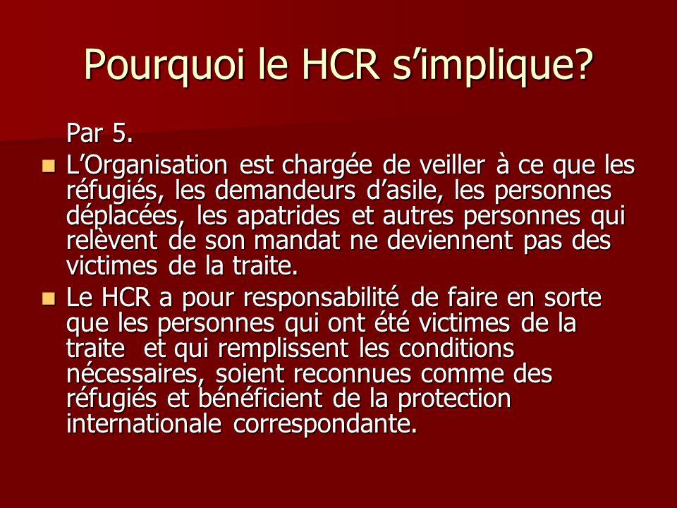 Pourquoi le HCR simplique? Par 5. LOrganisation est chargée de veiller à ce que les réfugiés, les demandeurs dasile, les personnes déplacées, les apat