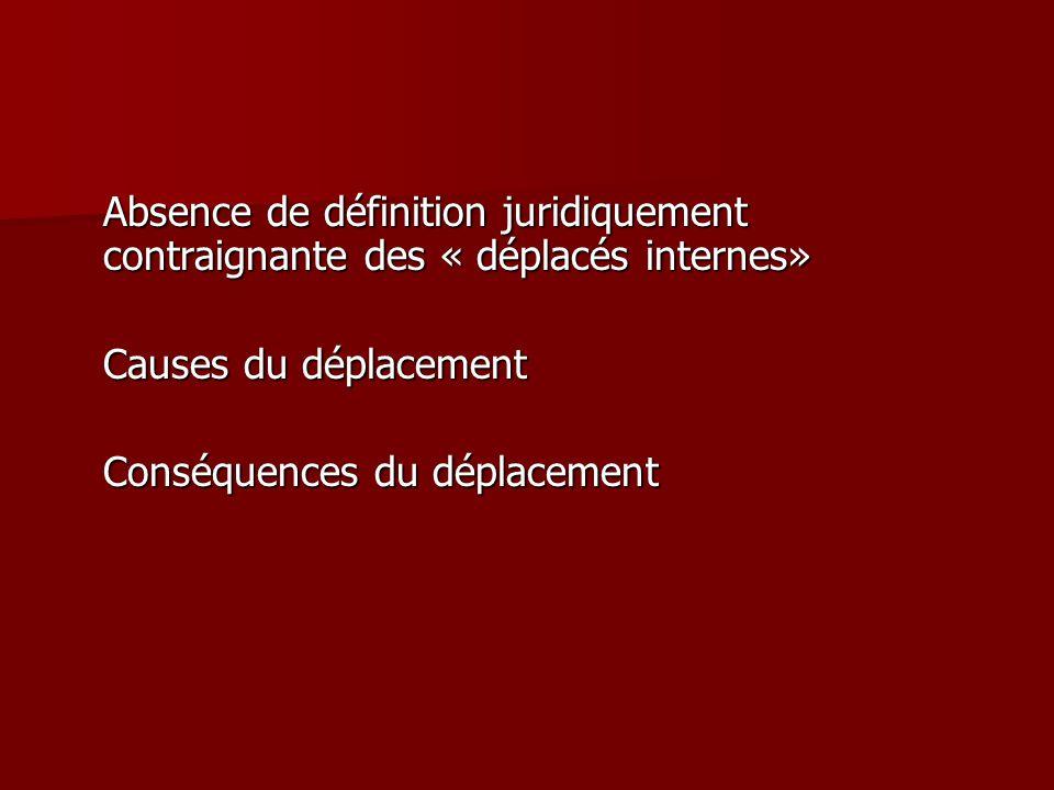 Absence de définition juridiquement contraignante des « déplacés internes» Causes du déplacement Conséquences du déplacement