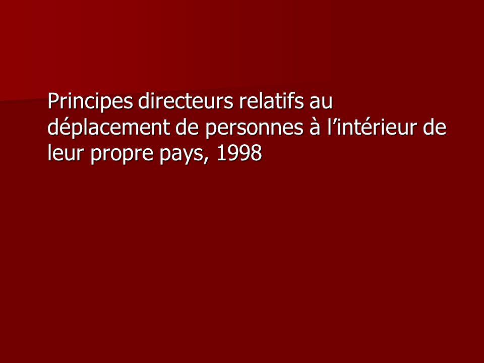 Principes directeurs relatifs au déplacement de personnes à lintérieur de leur propre pays, 1998