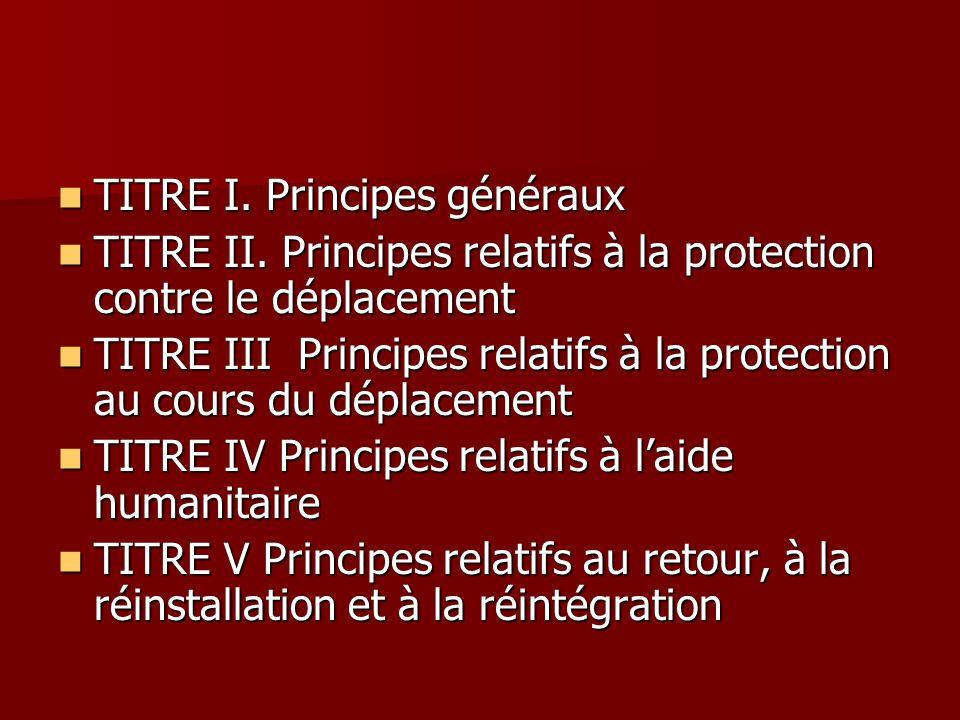 TITRE I. Principes généraux TITRE I. Principes généraux TITRE II. Principes relatifs à la protection contre le déplacement TITRE II. Principes relatif