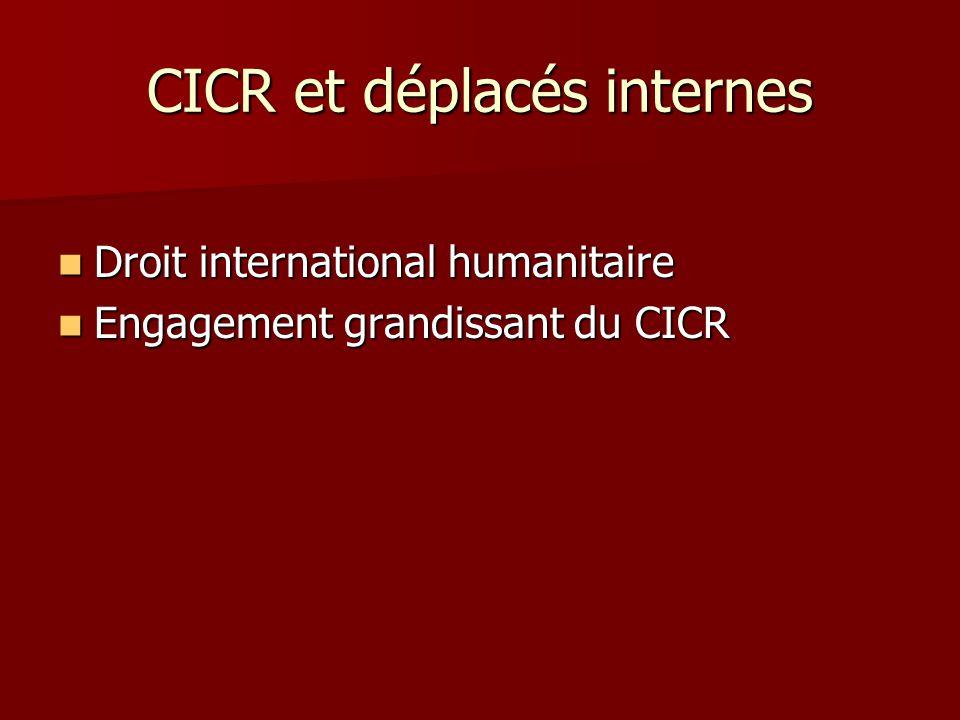 CICR et déplacés internes Droit international humanitaire Droit international humanitaire Engagement grandissant du CICR Engagement grandissant du CIC