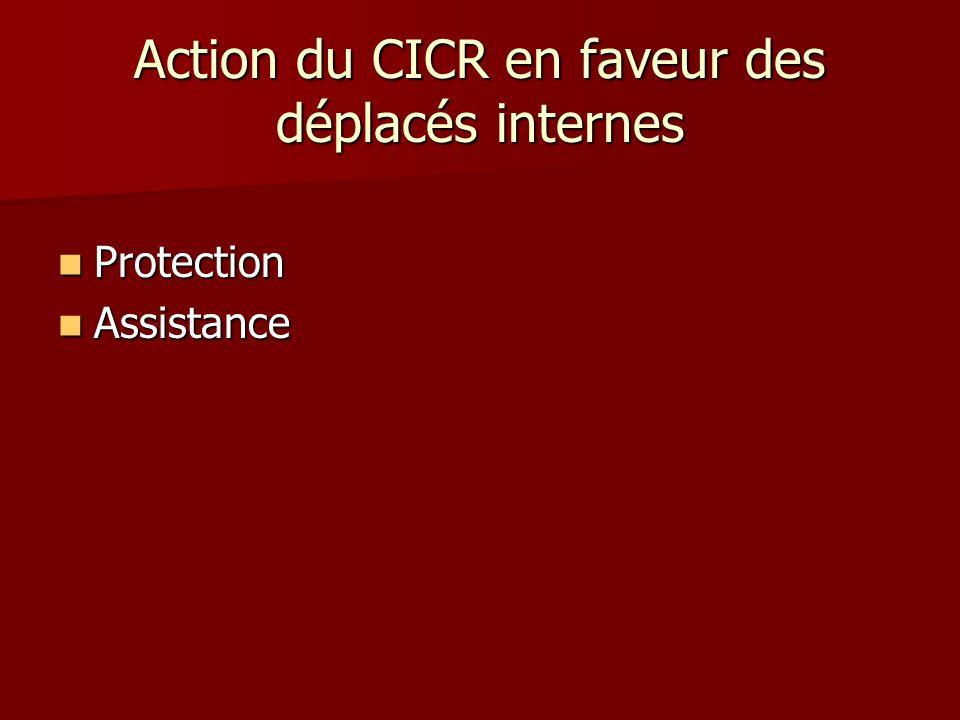 Action du CICR en faveur des déplacés internes Protection Protection Assistance Assistance