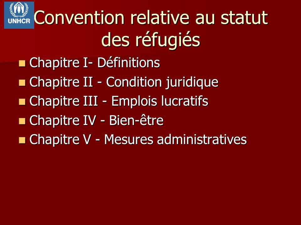 Convention relative au statut des réfugiés Chapitre I- Définitions Chapitre I- Définitions Chapitre II - Condition juridique Chapitre II - Condition j