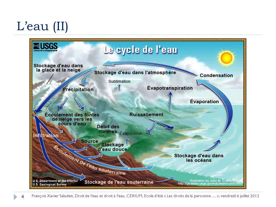 Leau (II) 4 François Xavier Saluden, Droit de leau et droit à leau, CERIUM, Ecole dété « Les droits de la personne … », vendredi 6 juillet 2012