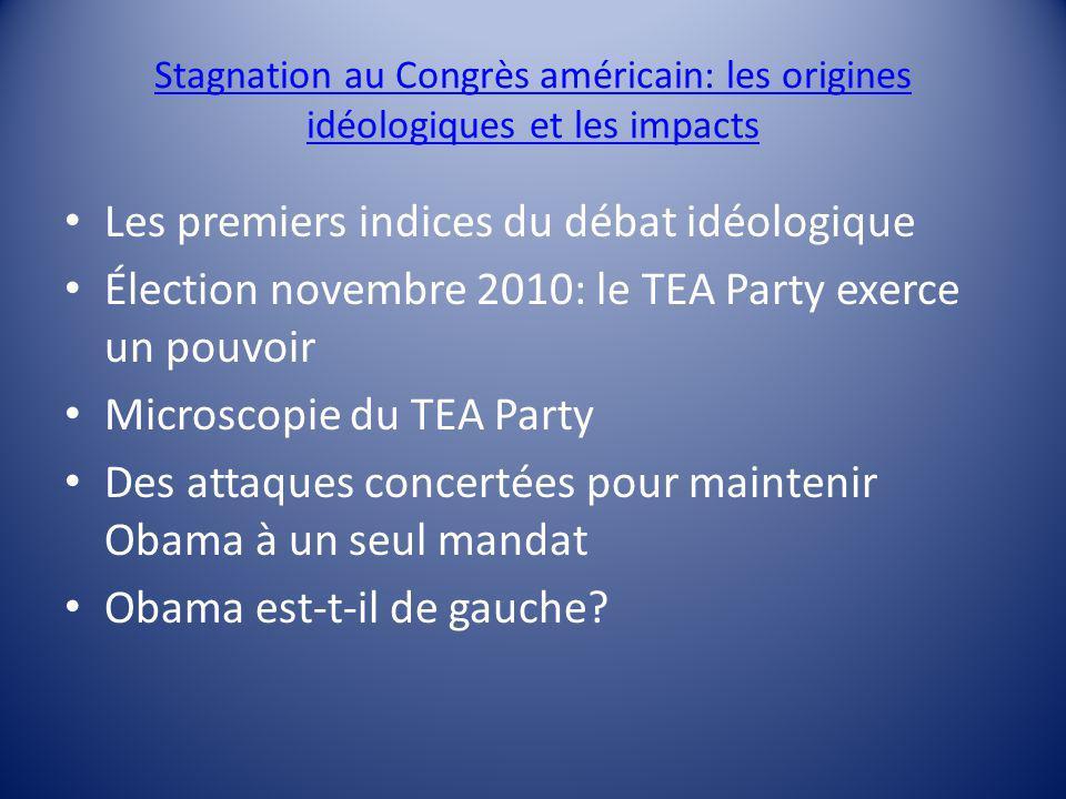 Stagnation au Congrès américain: les origines idéologiques et les impacts Les premiers indices du débat idéologique Élection novembre 2010: le TEA Party exerce un pouvoir Microscopie du TEA Party Des attaques concertées pour maintenir Obama à un seul mandat Obama est-t-il de gauche